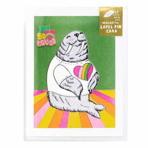 Walrus Card w/ I'm So Loved Lapel Pin - City Bird