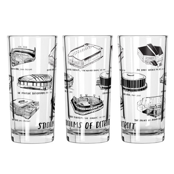 Stadiums of Detroit 12oz Glass