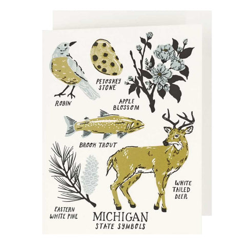Michigan State Symbols Letterpress Card - City Bird