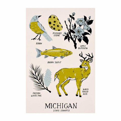 Michigan State Symbols Silkscreened Art Print - City Bird
