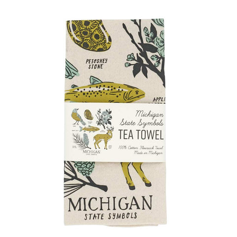Michigan State Symbols Tea Towel - City Bird