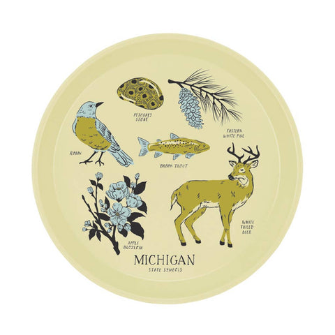 Michigan State Symbols Cocktail Tray