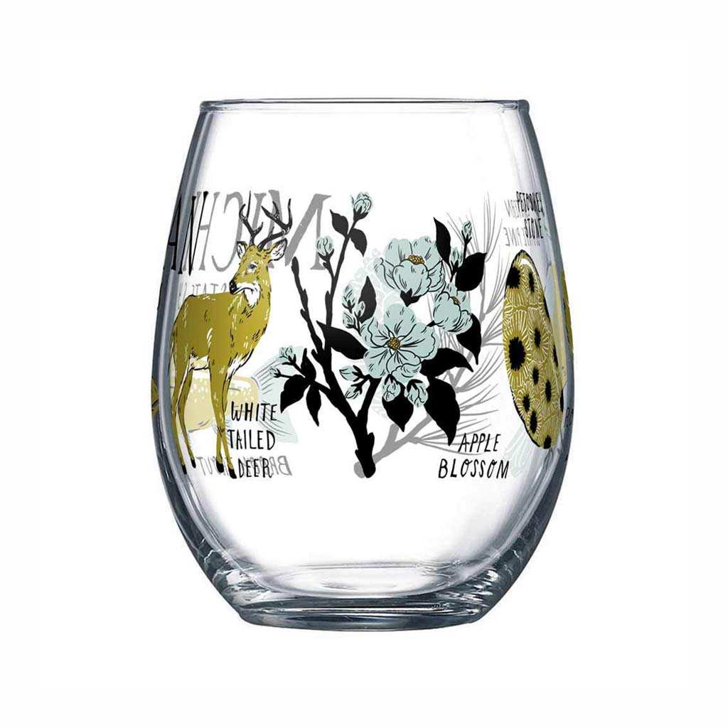 Michigan State Symbols Wine Glass - City Bird