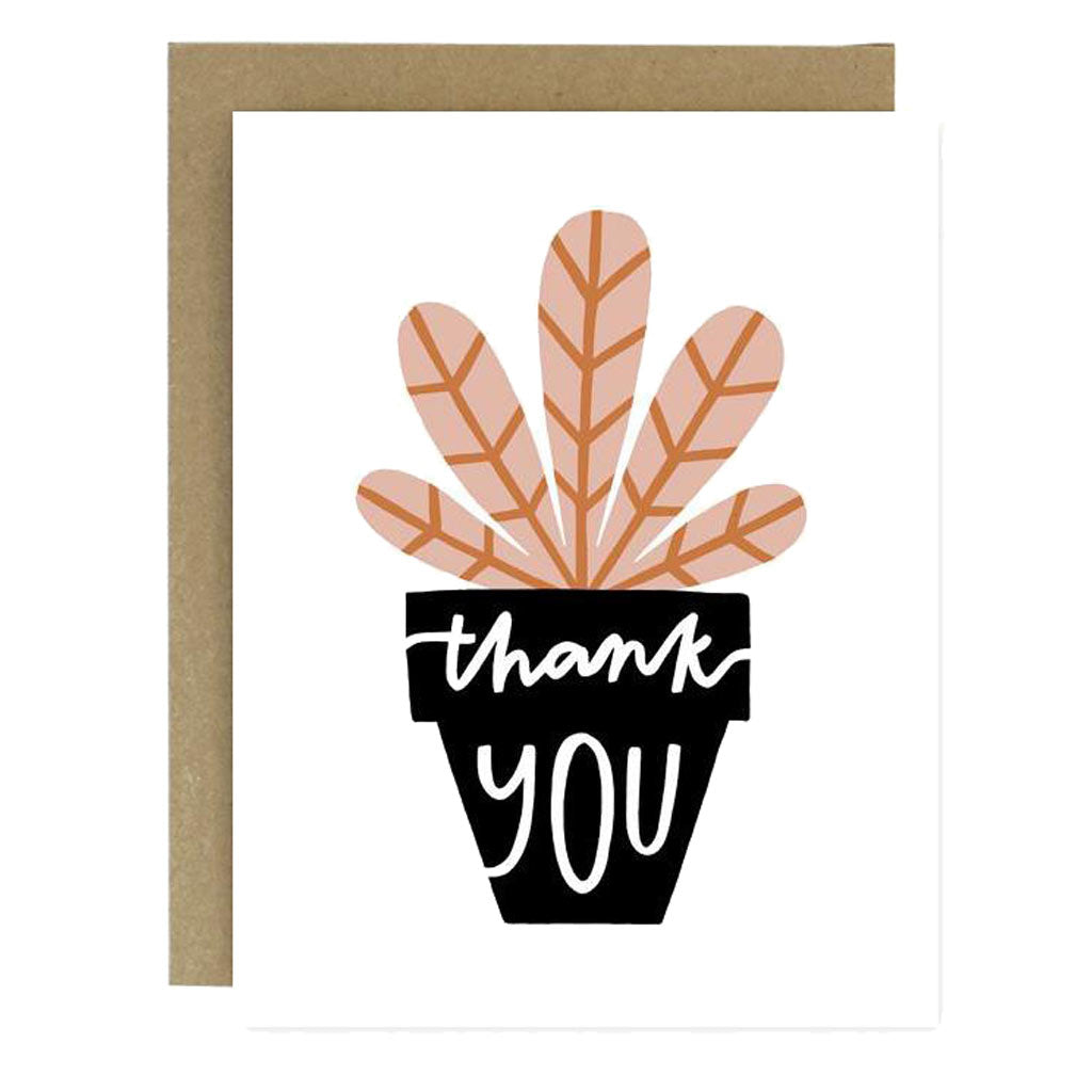 Potted Plant Thank You Card - City Bird