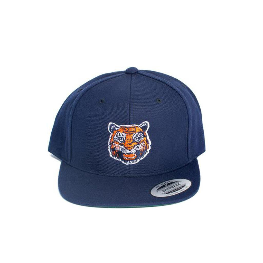 Navy Tiger Face Snap Back Hat (Navy With Green Under-Bill) - City Bird