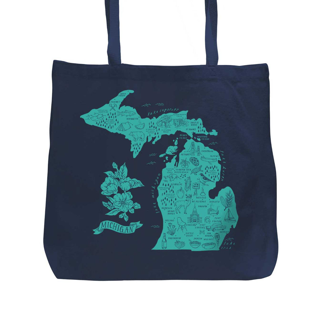 Illustrated Michigan Map Navy Blue/Turquoise Tote - City Bird