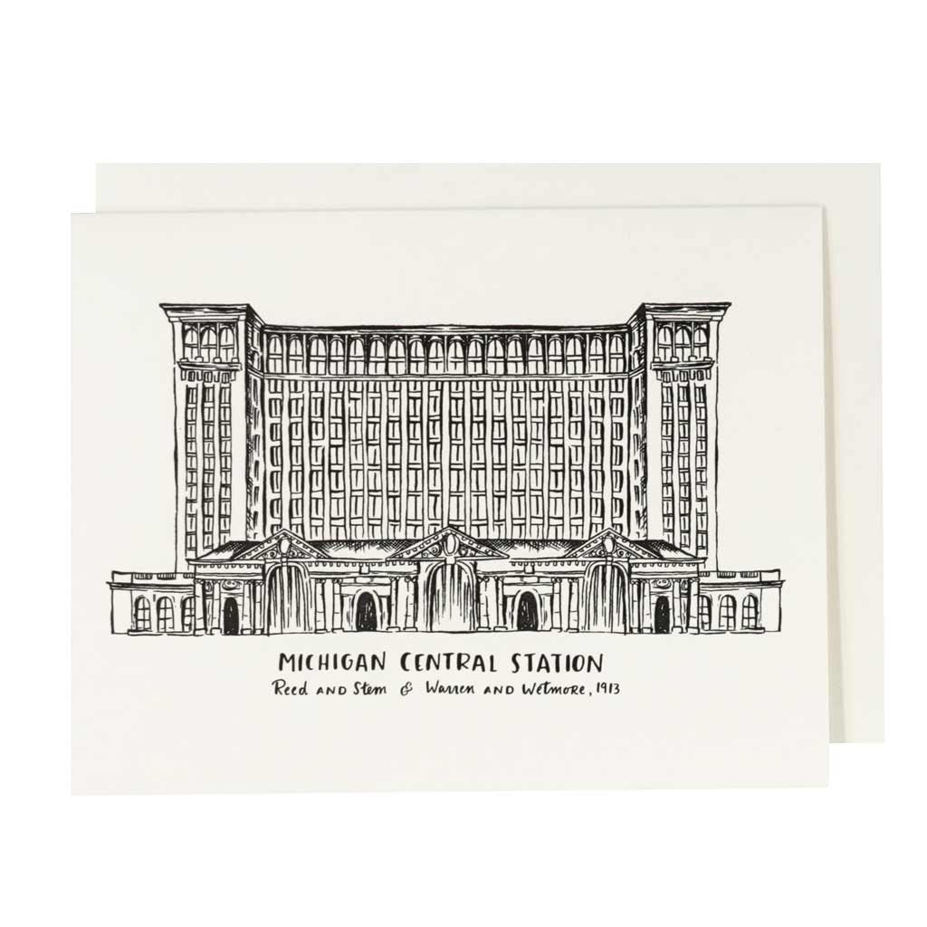 Michigan Central Station Letterpress Card - City Bird
