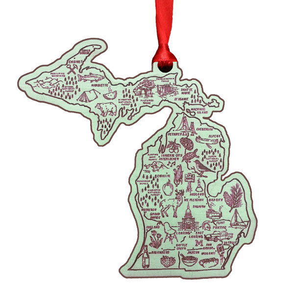Illustrated Michigan Map Flat Ornament