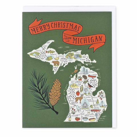Illustrated Michigan Map - Merry Christmas - Set of Six Cards