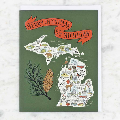 Illustrated Michigan Map Christmas Card - City Bird