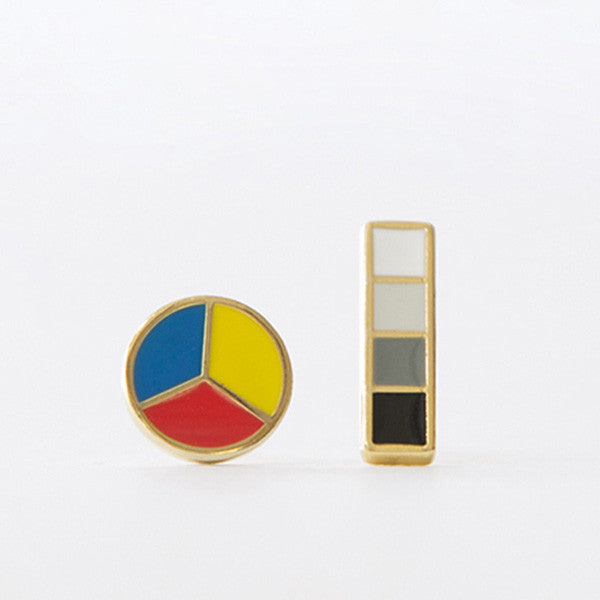 Color Wheel and Greyscale Earrings - City Bird