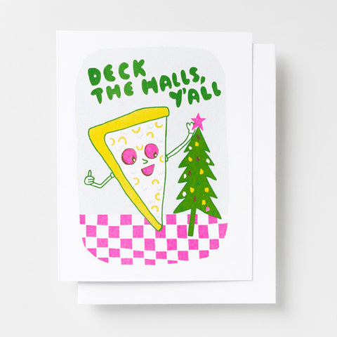 Deck the Halls Pizza Risograph Christmas Card - City Bird