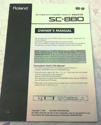 Roland SC-880 Synthesizer Owners Manual and Quick Start Guide - CSExpress