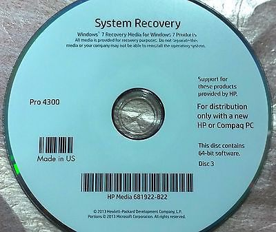 HP Pro 4300 System Recovery/Repair CD Set with Driver CD (5 Disks) - CSExpress