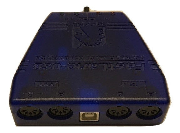 FastLane USB is a 2-in/2-out MIDI interface with MIDI Thru Blue - CSExpress