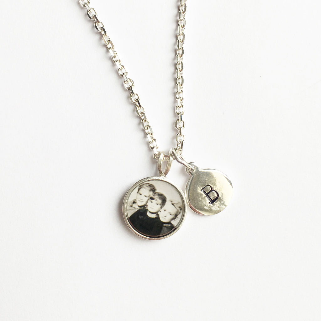 Photogem teeny tiny sterling silver necklace with stamped initial