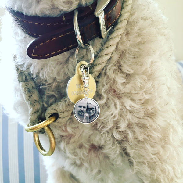 Dog collar/bag accessory with 15mm Photogem Memorial Jewellery