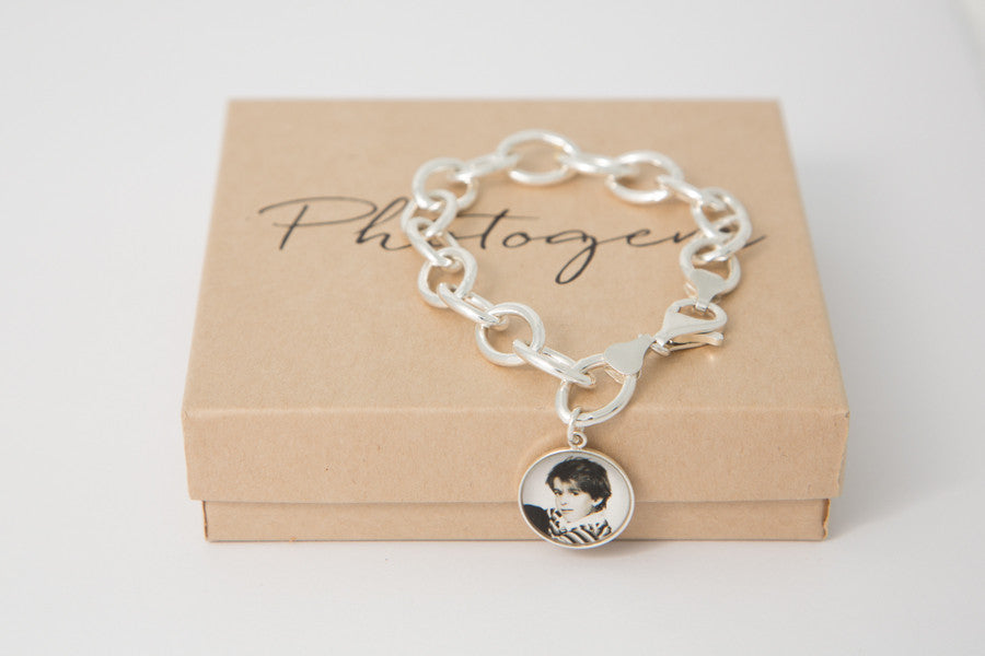 c5e19a071bccf Chunky sterling silver bracelet with 15mm Photogem photo charm - Original  Photo