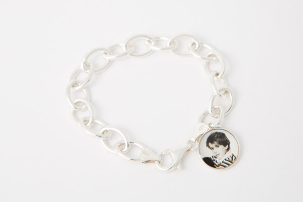 Chunky Sterling Silver Bracelet with 15mm Photogem Memorial Jewellery Photo Charm