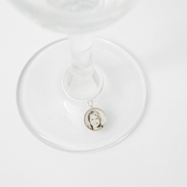 Sterling Silver Photogem Memorial Wine Glass Charm