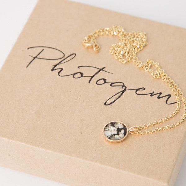 Photogem 10mm 9ct gold personalised necklace
