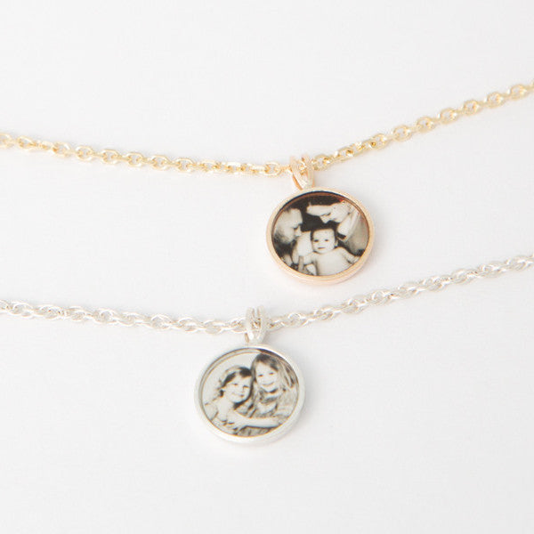 Photogem Memorial Jewellery Teeny Tiny Sterling Silver Necklace with Stamped Initial