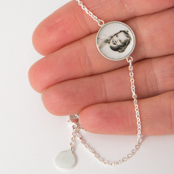Delicate Sterling Silver Bracelet with 15mm Photogem and Stamped Tag