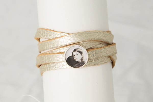Leather Wrap Bracelet with One Photogem Personalised Photo
