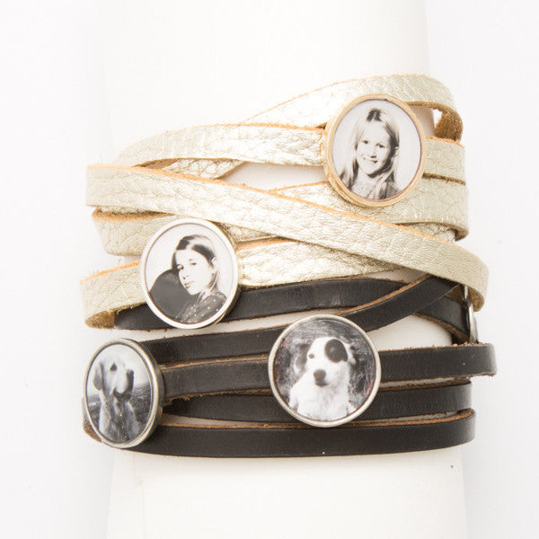 Leather wrap bracelet with one Photogem
