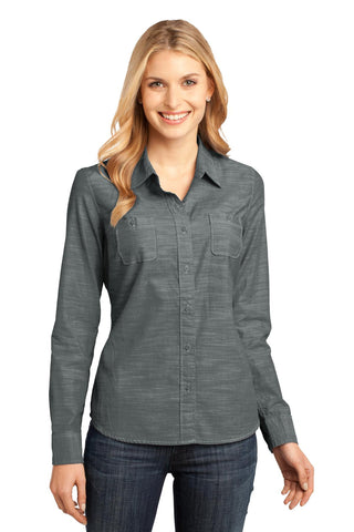 District Made Ladies Long Sleeve Washed Woven Shirt - ThreadedLogo