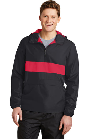 Sport-Tek¬ Zipped Pocket Anorak. JST65, Outerwear, Sport-Tek ThreadedLogo