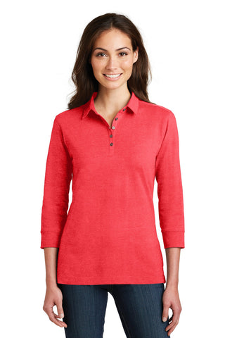 Port Authority Ladies 3/4-Sleeve Meridian Cotton Blend Polo., Ladies, Port Authority ThreadedLogo