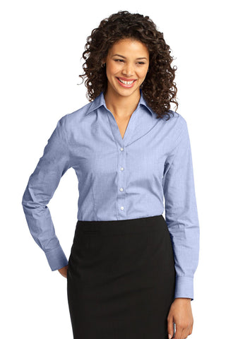 Port Authority Ladies Crosshatch Easy Care Shirt., Ladies, Port Authority ThreadedLogo