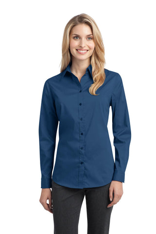 Port Authority Ladies Stretch Poplin Shirt., Ladies, Port Authority ThreadedLogo
