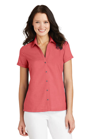 Port Authority Ladies Textured Camp Shirt., Ladies, Port Authority ThreadedLogo