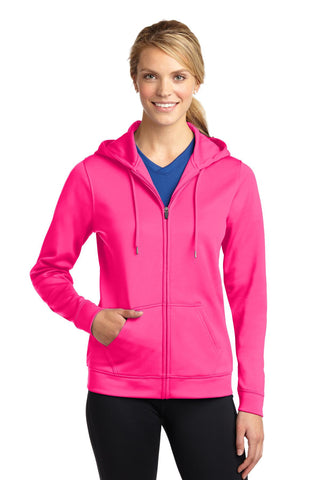 Sport-Tek Ladies Sport-Wick Fleece Full-Zip Hooded Jacket. LST238, Ladies, Sport-Tek ThreadedLogo