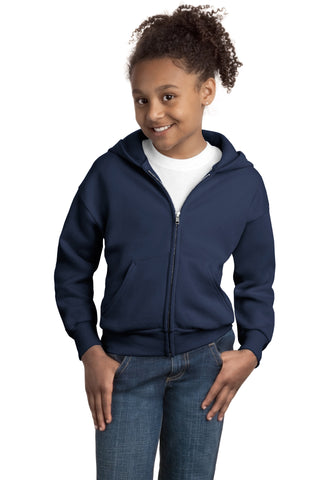 Youth EcoSmart® Full-Zip Hooded Sweatshirt, , threadedlogo ThreadedLogo