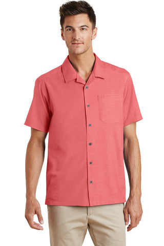 Port Authority¬ Textured Camp Shirt. S662, Woven Shirts, Port Authority ThreadedLogo
