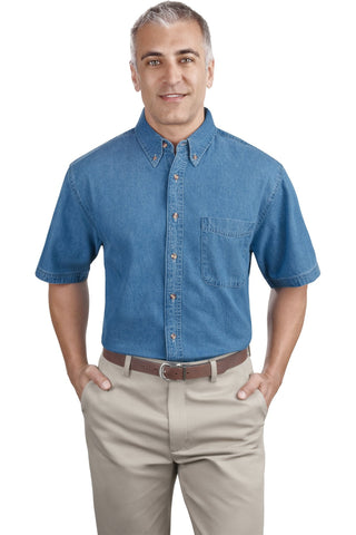 Port & Company¬ - Short Sleeve Value Denim Shirt. SP11, Woven Shirts, Port & Company ThreadedLogo