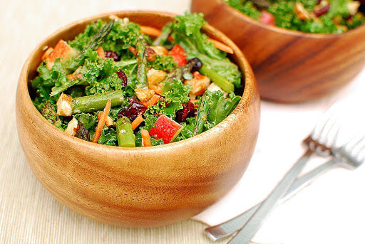 Kale Salad with Roasted Asparagus & Tarragon Vinaigrette