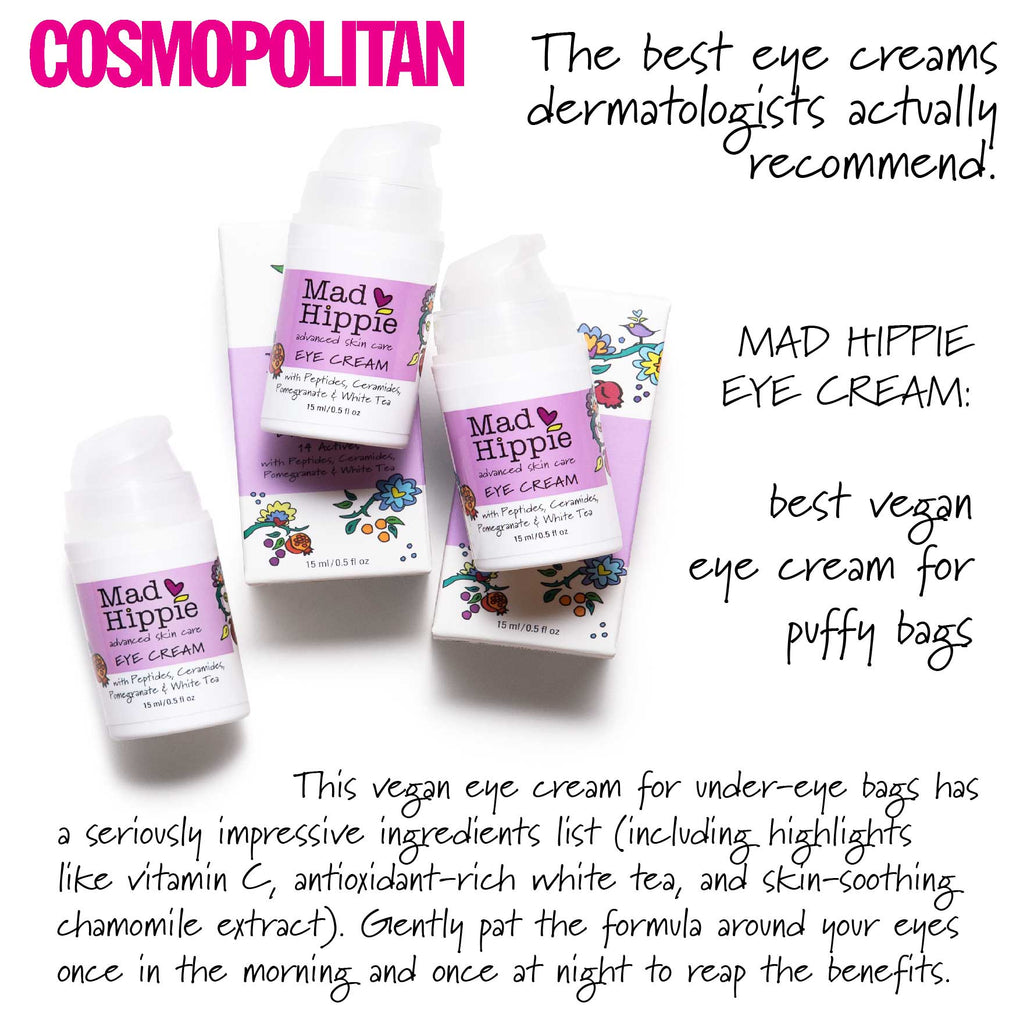 Cosmopolitan - The best eye creams dermatologists actually recommend.  Mad Hippie Eye Cream