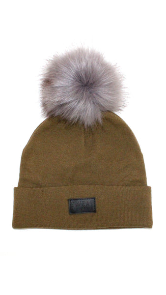 16666d80bf1 Cashmere and Fur Pom Pom Beanie Hat - Army Green – Sweat Active