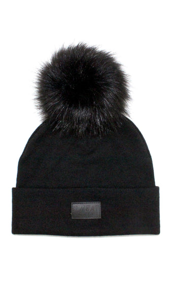 Cashmere and Fur Pom Pom Beanie Hat - Black