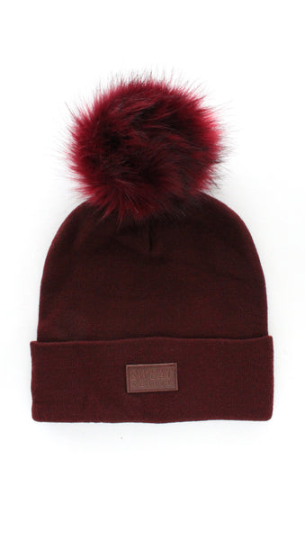 Cashmere and Fur Pom Pom Beanie Hat - Burgundy
