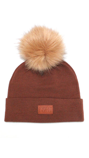 Cashmere and Fur Pom Pom Beanie Hat - Clay