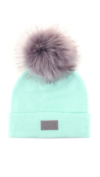 Cashmere and Fur Pom Pom Beanie Hat - Foam