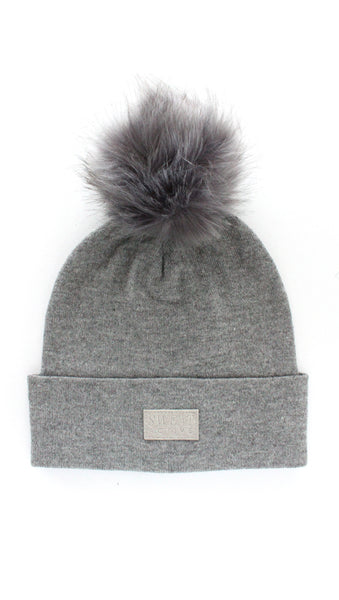 Cashmere and Fur Pom Pom Beanie Hat - Heather