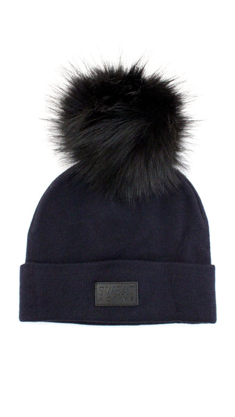 Cashmere and Fur Pom Pom Beanie Hat - Midnight