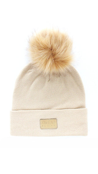 Cashmere and Fur Pom Pom Beanie Hat - Oatmeal