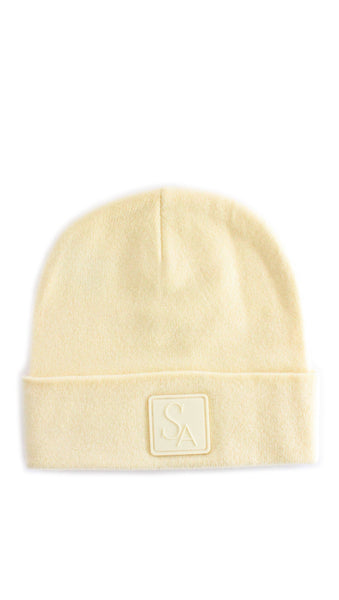 Cashmere Slouch Beanie Hat - Pale Yellow